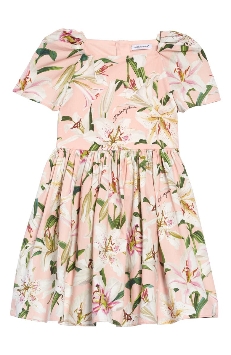 DOLCE&GABBANA Lily Print Dress, Main, color, LILIES PRINT