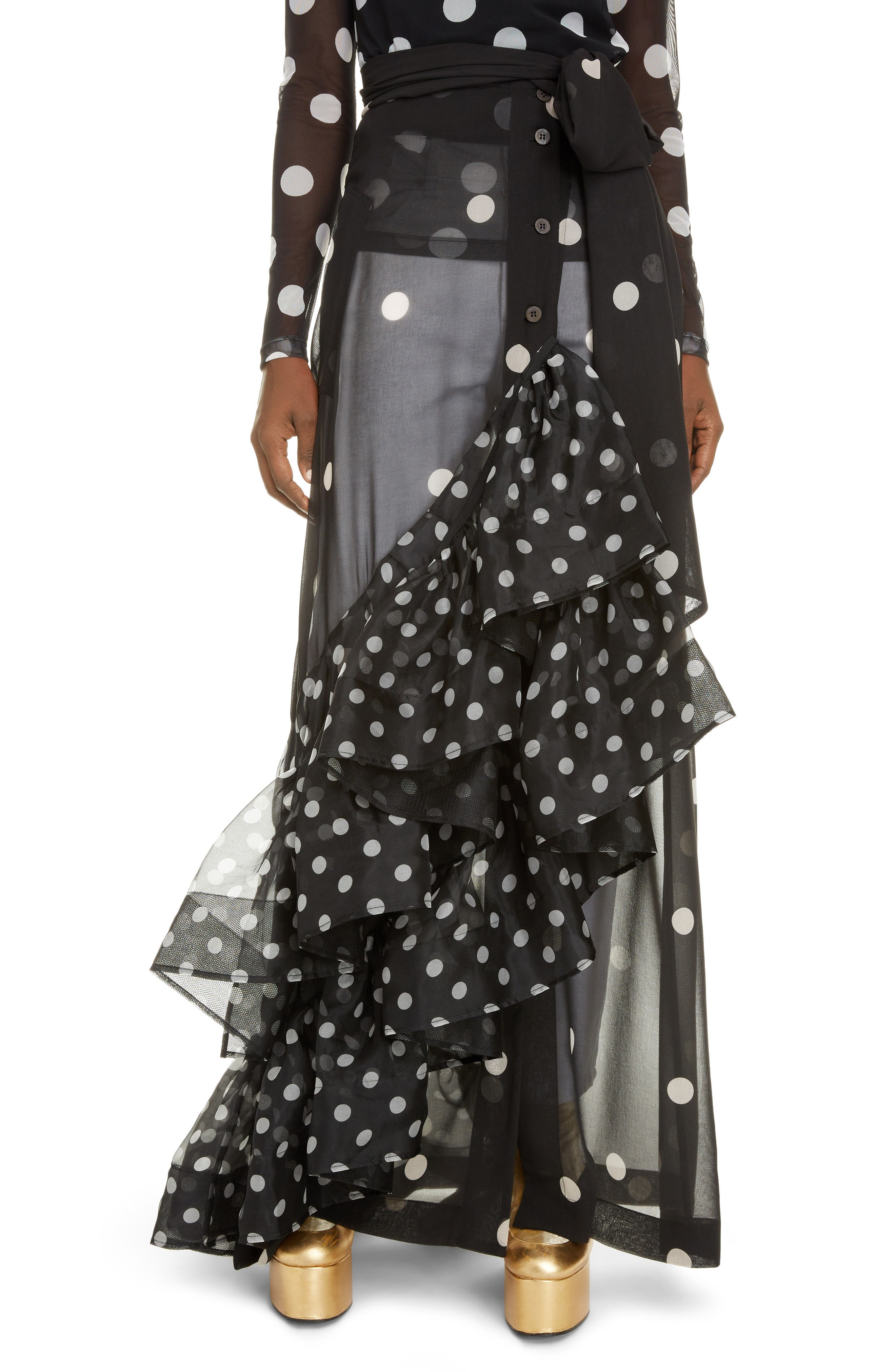 Christian Lacroix brought haute drama to Dries Van Noten\\\'s modern, wearable vision as seen in this beautifully designed sheer maxi with asymmetrical ruffles. Mixed-width dots spotlight the sweeping look. Style Name: Dries Van Noten Sikar Dot Ruffle Sheer Maxi Skirt. Style Number: 6004404. Available in stores.