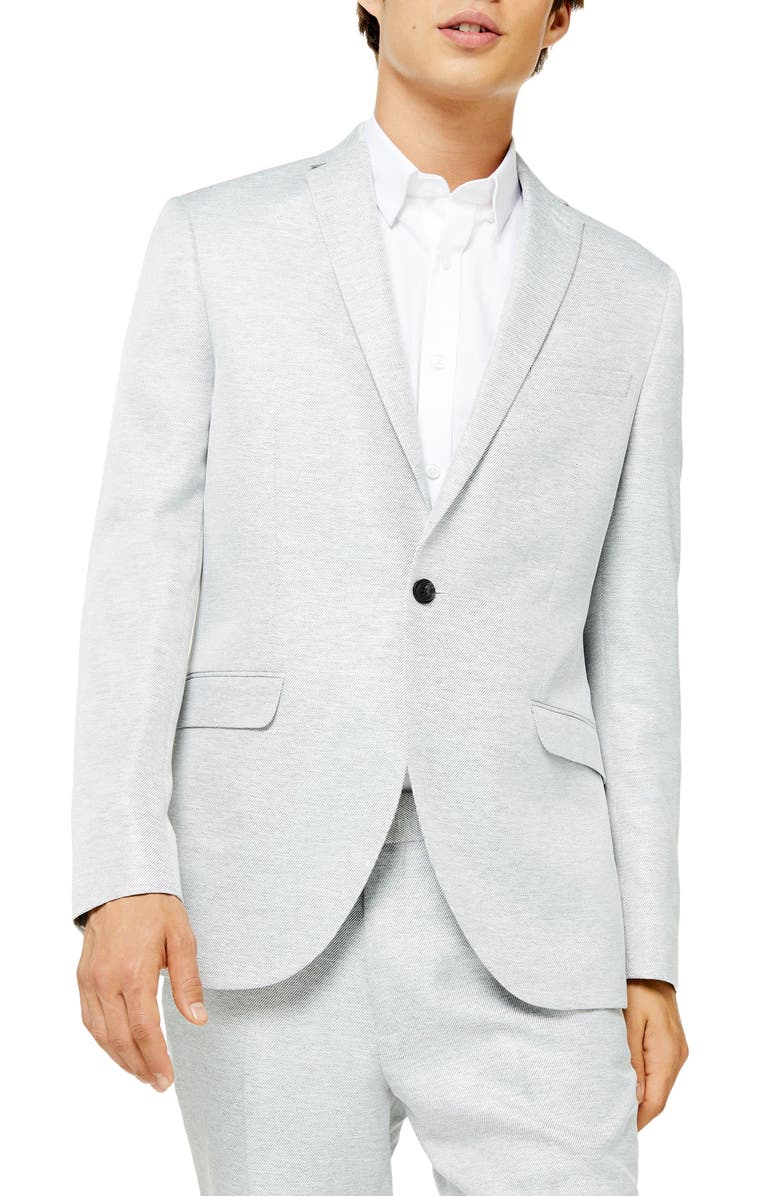 TOPMAN Clay Skinny Fit Twill Suit Jacket, Main, color, GREY
