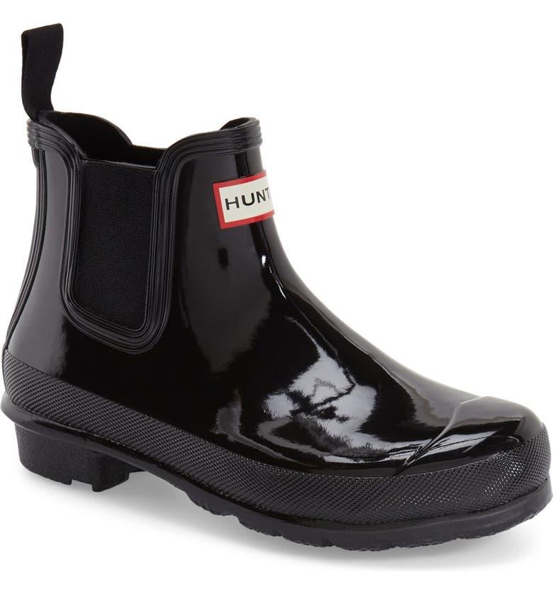 HUNTER Original Gloss Waterproof Chelsea Boot, Main, color, BLACK