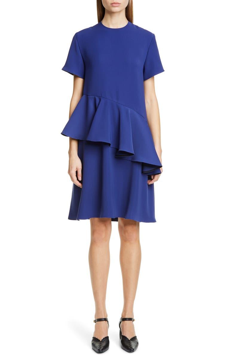 ADEAM Ruffle T-Shirt Dress, Main, color, NAVY