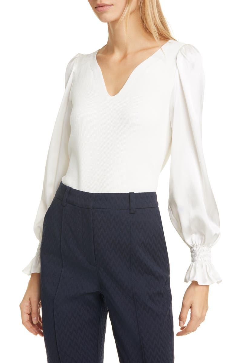 TAILORED BY REBECCA TAYLOR Long Sleeve Pullover Blouse, Main, color, 115