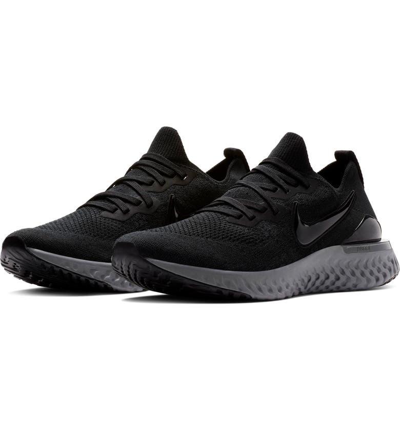 NIKE Epic React Flyknit 2 Running Shoe, Main, color, BLACK/ WHITE/ GUN SMOKE
