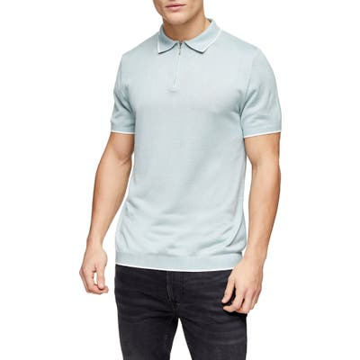Topman Tipped Zip Polo, Blue
