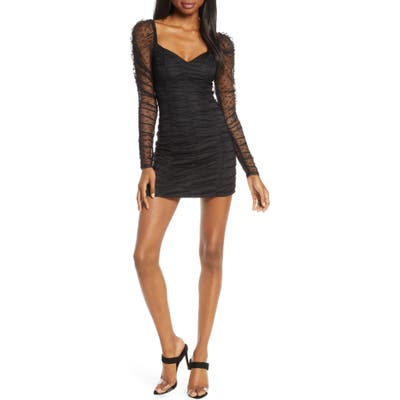 Finders Keepers Palermo Long Sleeve Ruched Minidress, Black
