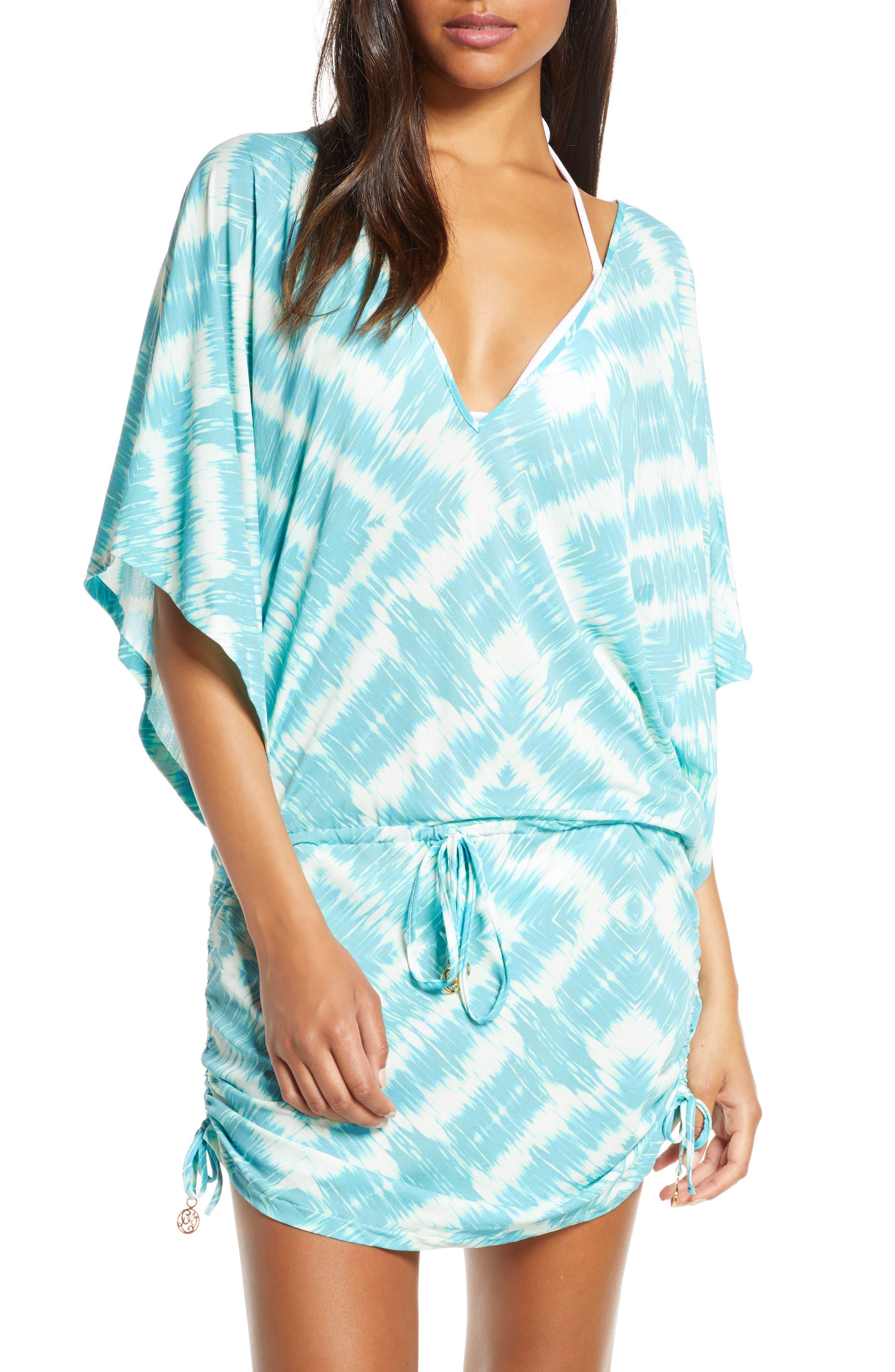 Luli Fama Cabana V-Neck Cover-Up Dress, Blue/green