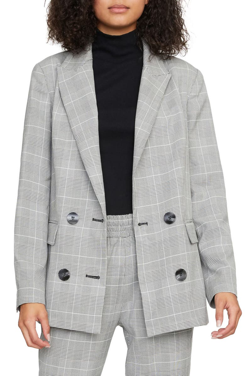 SANCTUARY The Boss Lady Double Breasted Blazer, Main, color, WALLACE PLAID