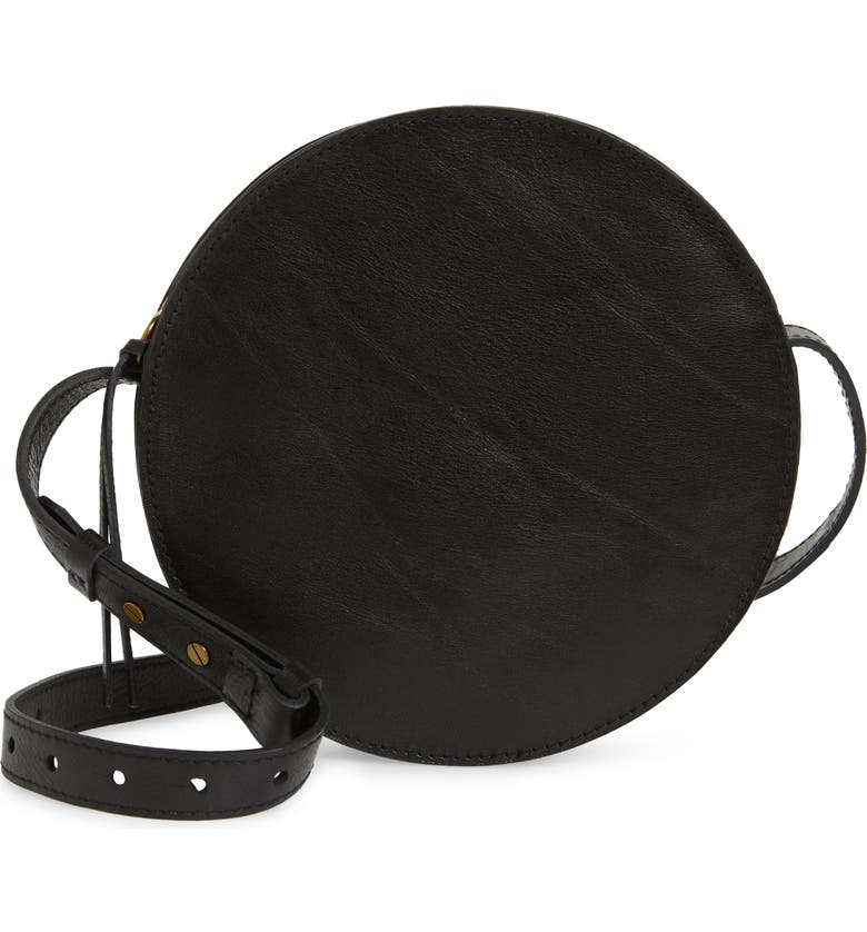 MADEWELL The Simple Circle Leather Crossbody Bag, Main, color, TRUE BLACK