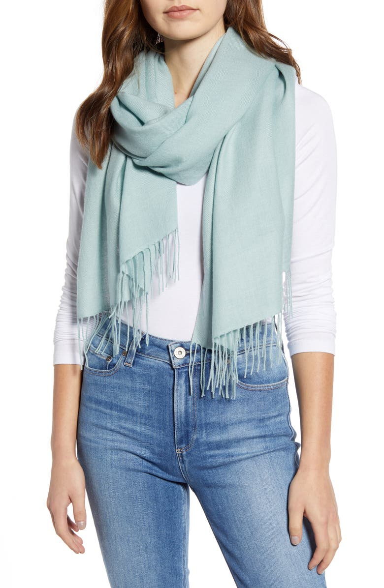 NORDSTROM Tissue Weight Wool & Cashmere Scarf, Main, color, TEAL MIST