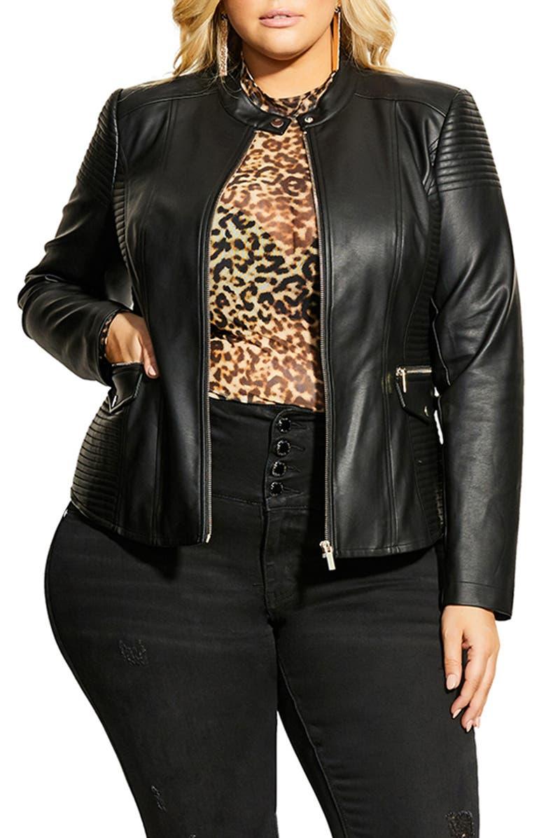 CITY CHIC Topstitch Detail Faux Leather Biker Jacket, Main, color, BLACK