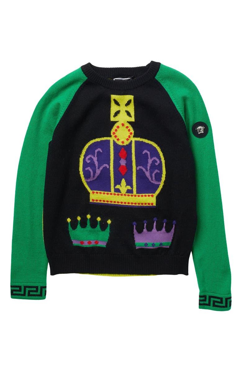 VERSACE Crown Wool Sweater, Main, color, BLACK-GREEN-MULT
