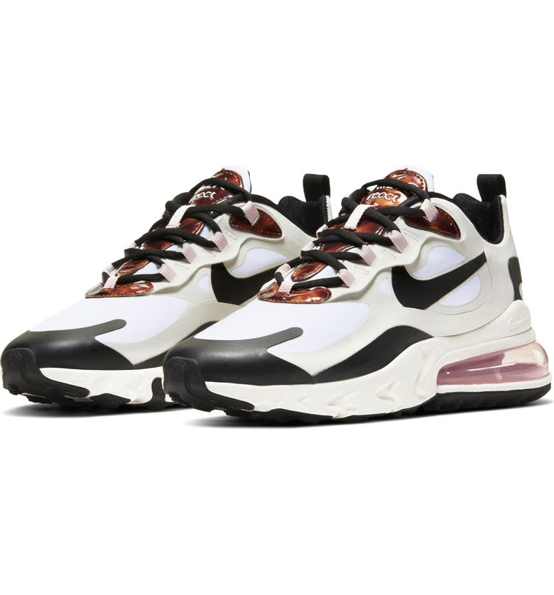 NIKE Air Max 270 React Sneaker, Main, color, SAIL/ ROSE-BLACK