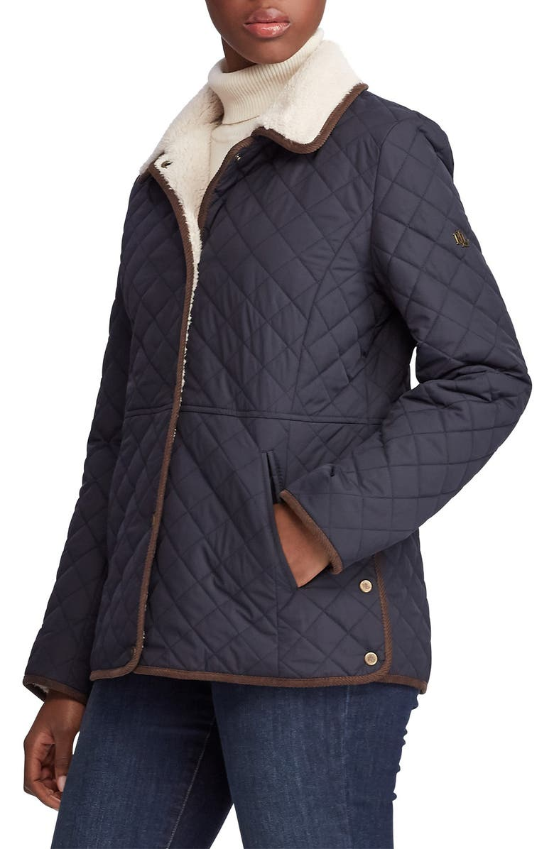 LAUREN RALPH LAUREN Faux Shearling Collar Quilted Jacket, Main, color, DK NAVY