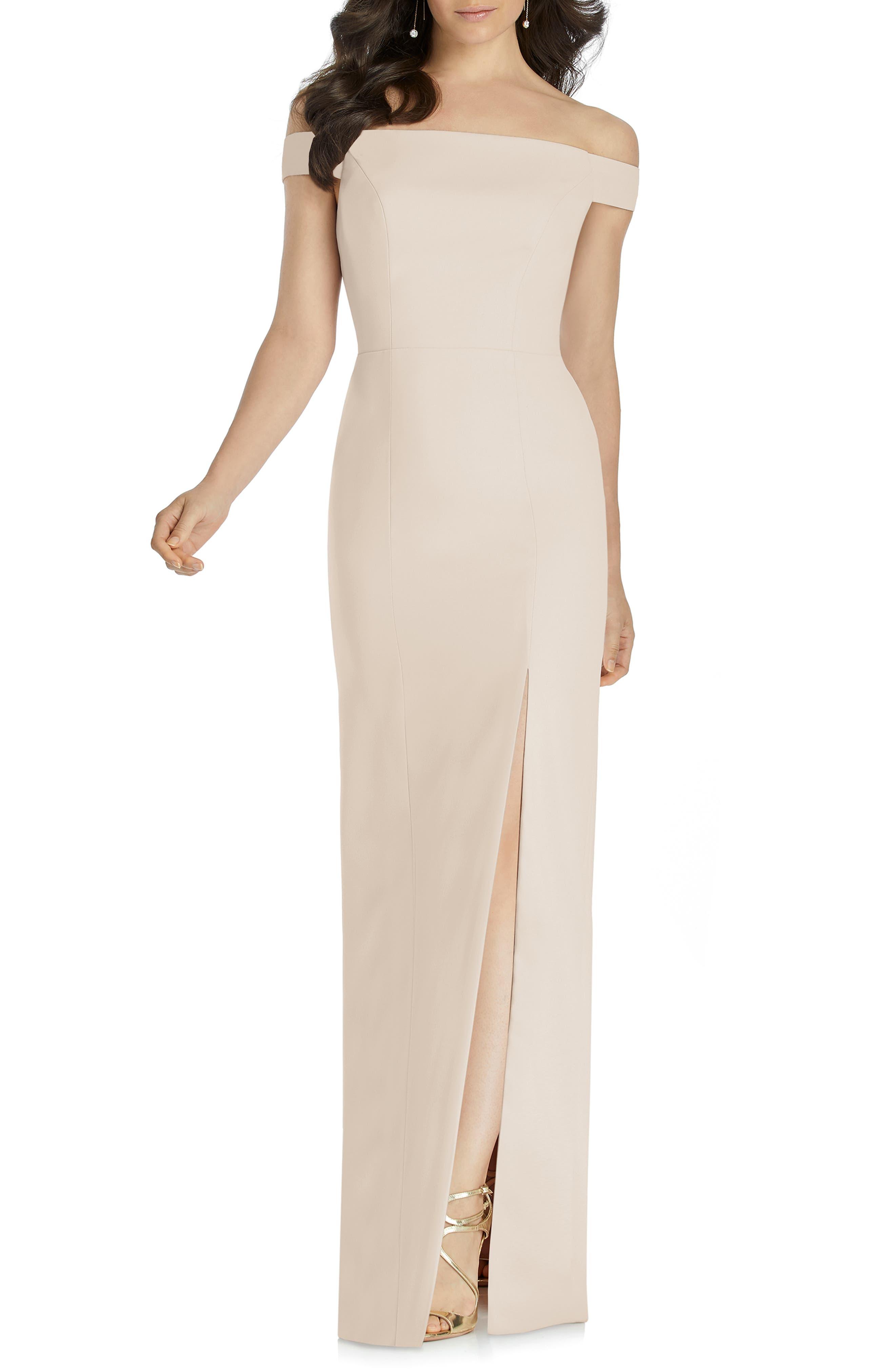 Dessy Collection Off The Shoulder Bow Back Evening Dress, Beige