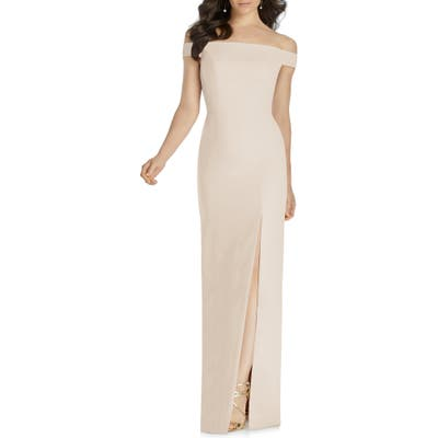 Dessy Collection Off The Shoulder Bow Back Evening Dress, Beige