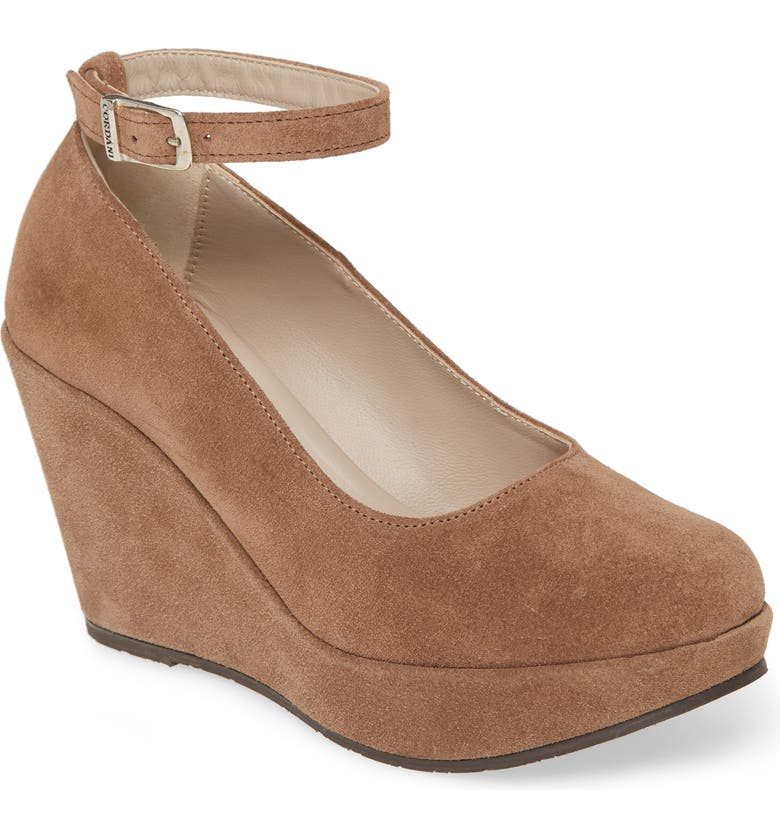 CORDANI Raylene Ankle Strap Wedge Pump, Main, color, TAUPE SUEDE