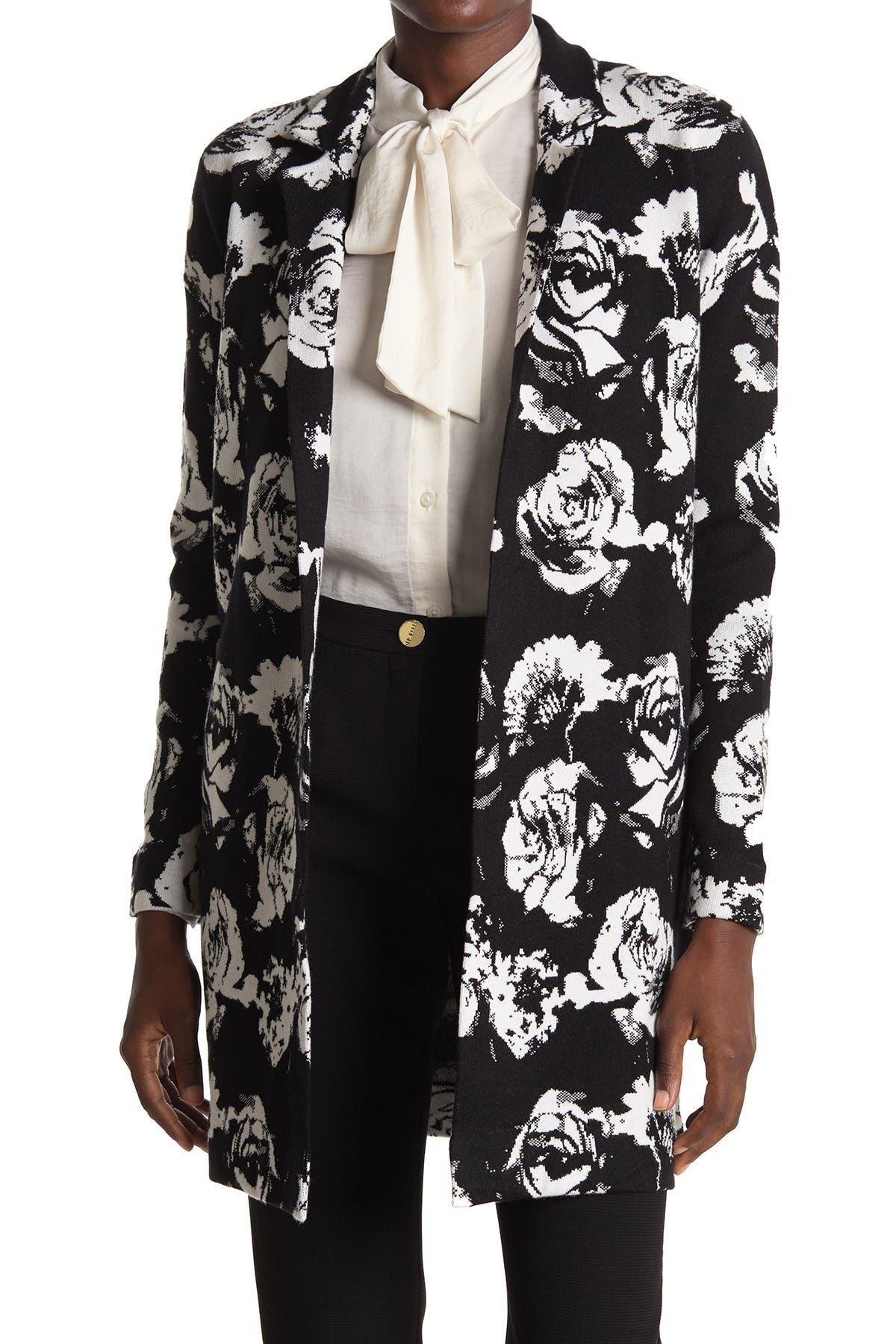 T Tahari Notch Collar Rose Printed Coat at Nordstrom Rack