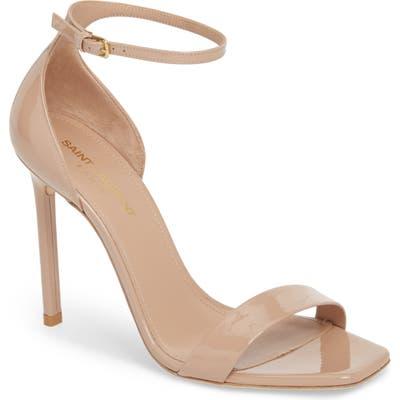 Saint Laurent Amber Ankle Strap Sandal, Beige