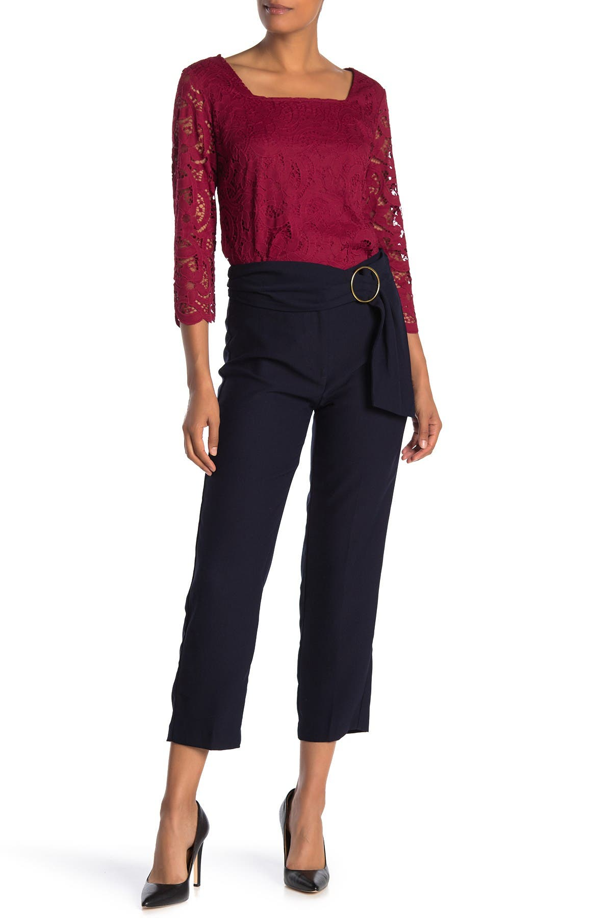 Image of NANETTE nanette lepore O-Ring Ankle Cropped Trousers