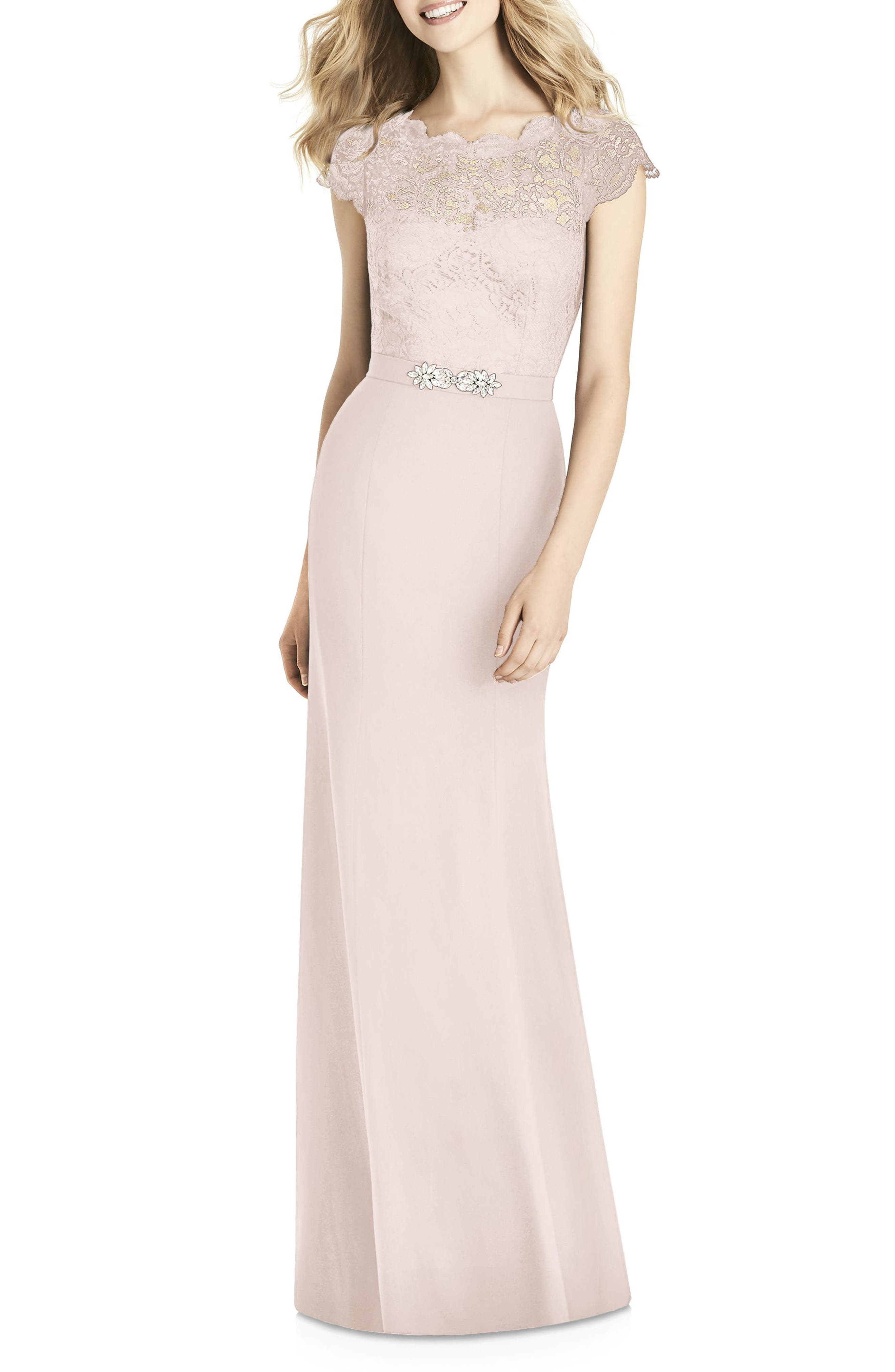 Jenny Packham Lace & Crepe Sheath Gown, Pink