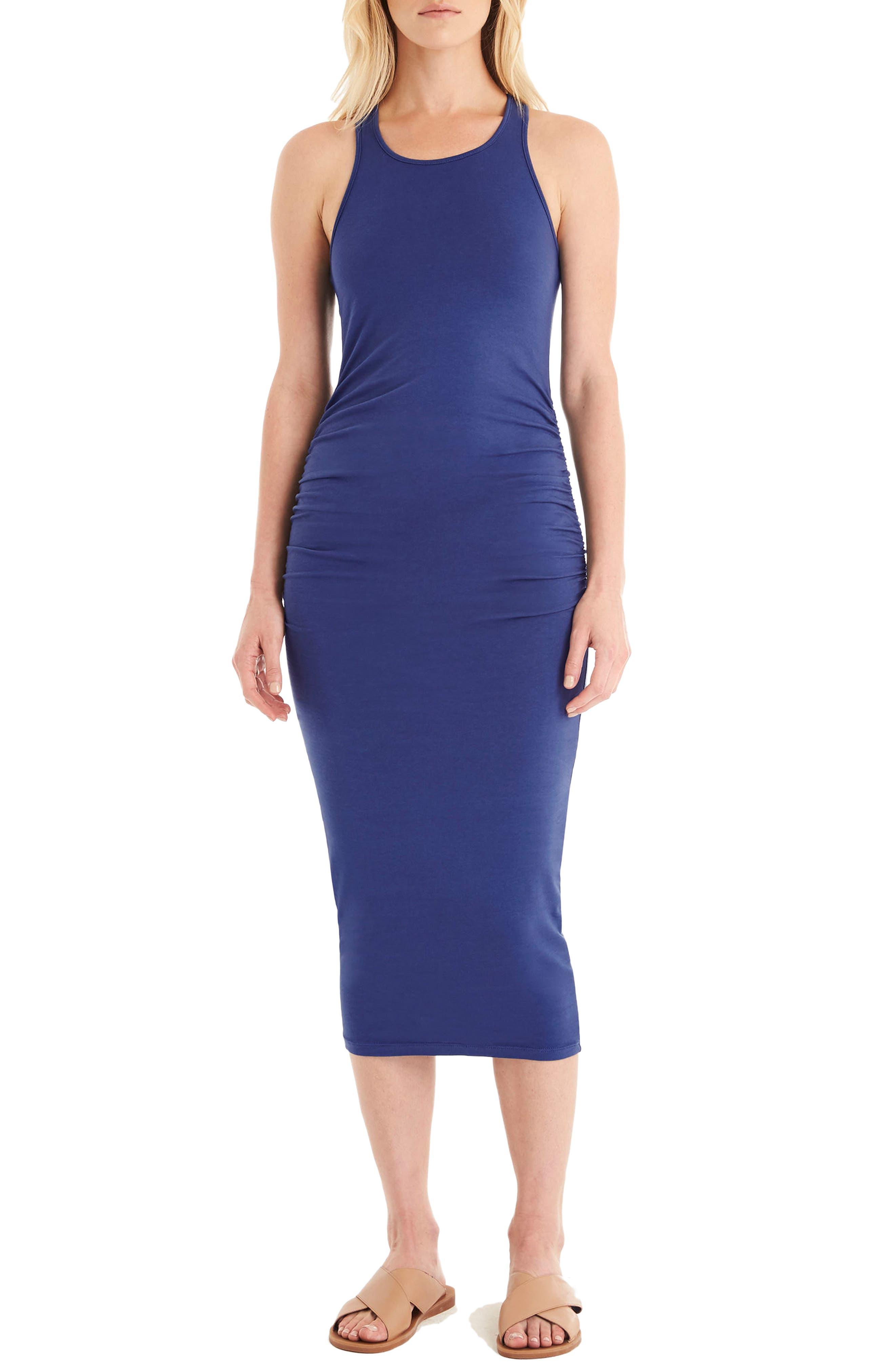 Petite Michael Stars Racerback Midi Dress, Blue