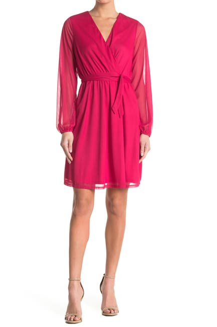 Image of TASH + SOPHIE Surplice Long Sleeve Chiffon Dress