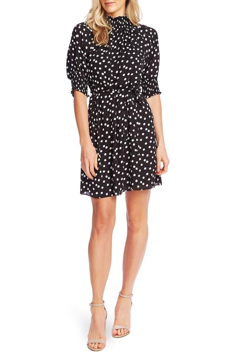 CECE Galactic Dot A-Line Dress, Main, color, RICH BLACK