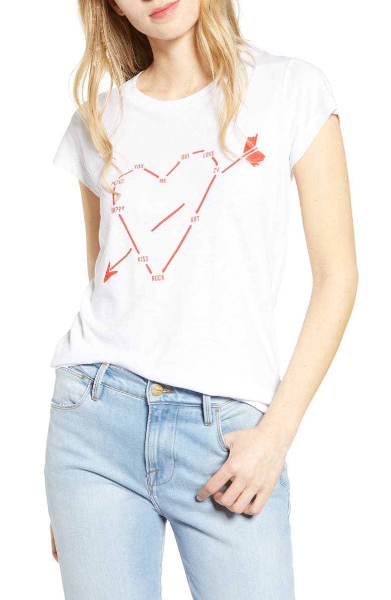 ZADIG & VOLTAIRE Skinny Heart Graphic Tee, Main, color, 116