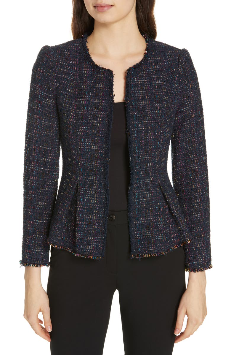 REBECCA TAYLOR Rainbow Tweed Jacket, Main, color, NAVY