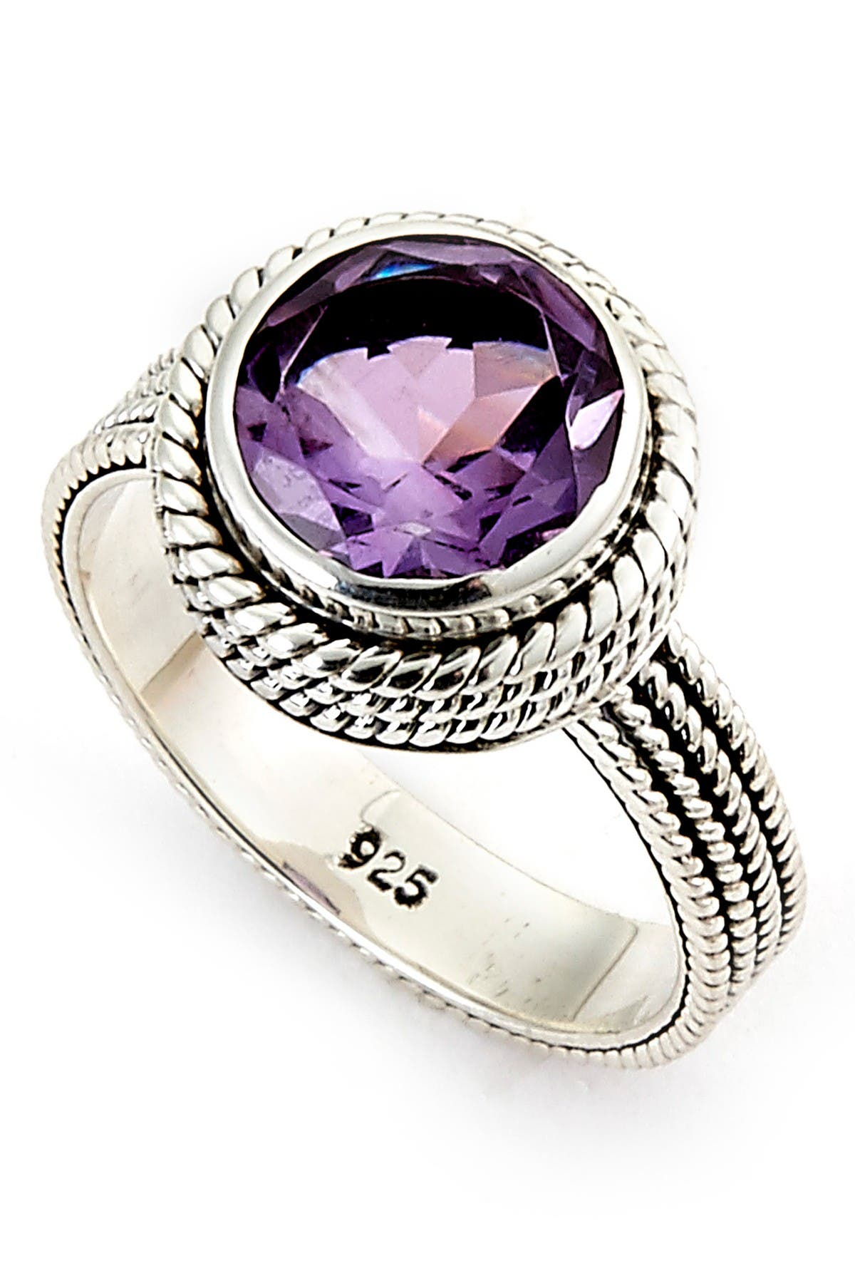 Image of Samuel B Jewelry Sterling Silver Round Amethyst Ring