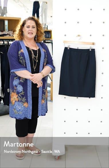 Vilea Dark Emerald Patterned Wool Pencil Skirt, sales video thumbnail