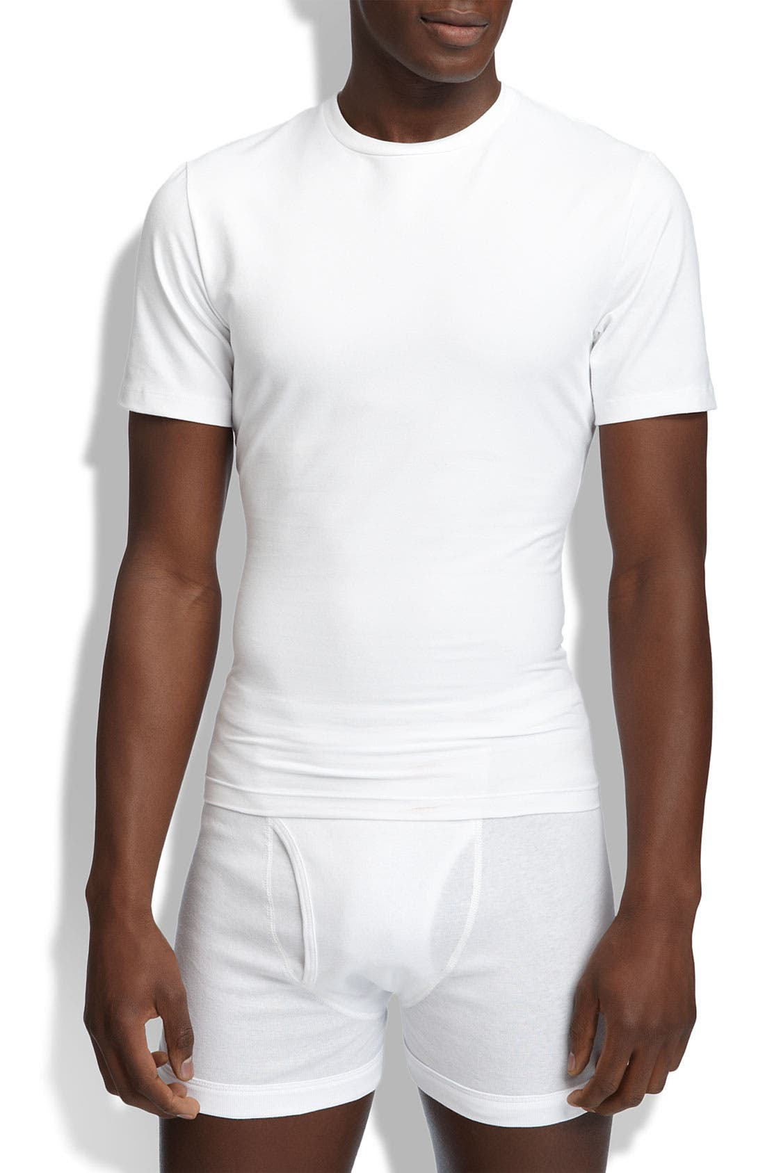 ,                             Crewneck Cotton Compression T-Shirt,                             Main thumbnail 1, color,                             WHITE