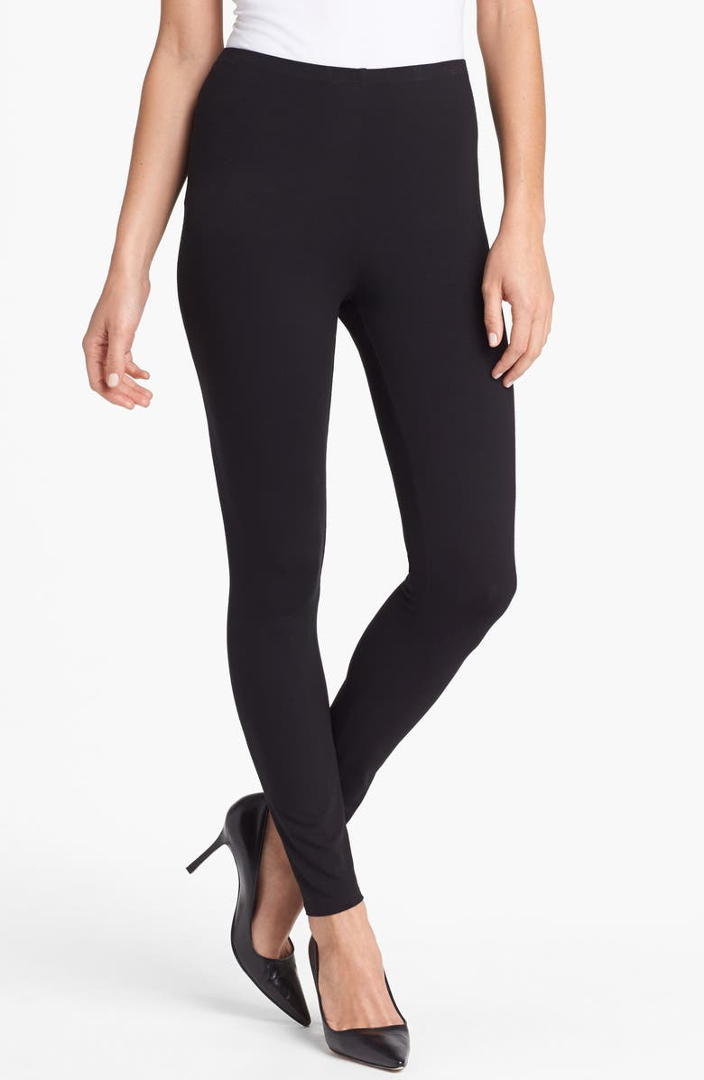 EILEEN FISHER Stretch Ankle Leggings, Main, color, BLACK