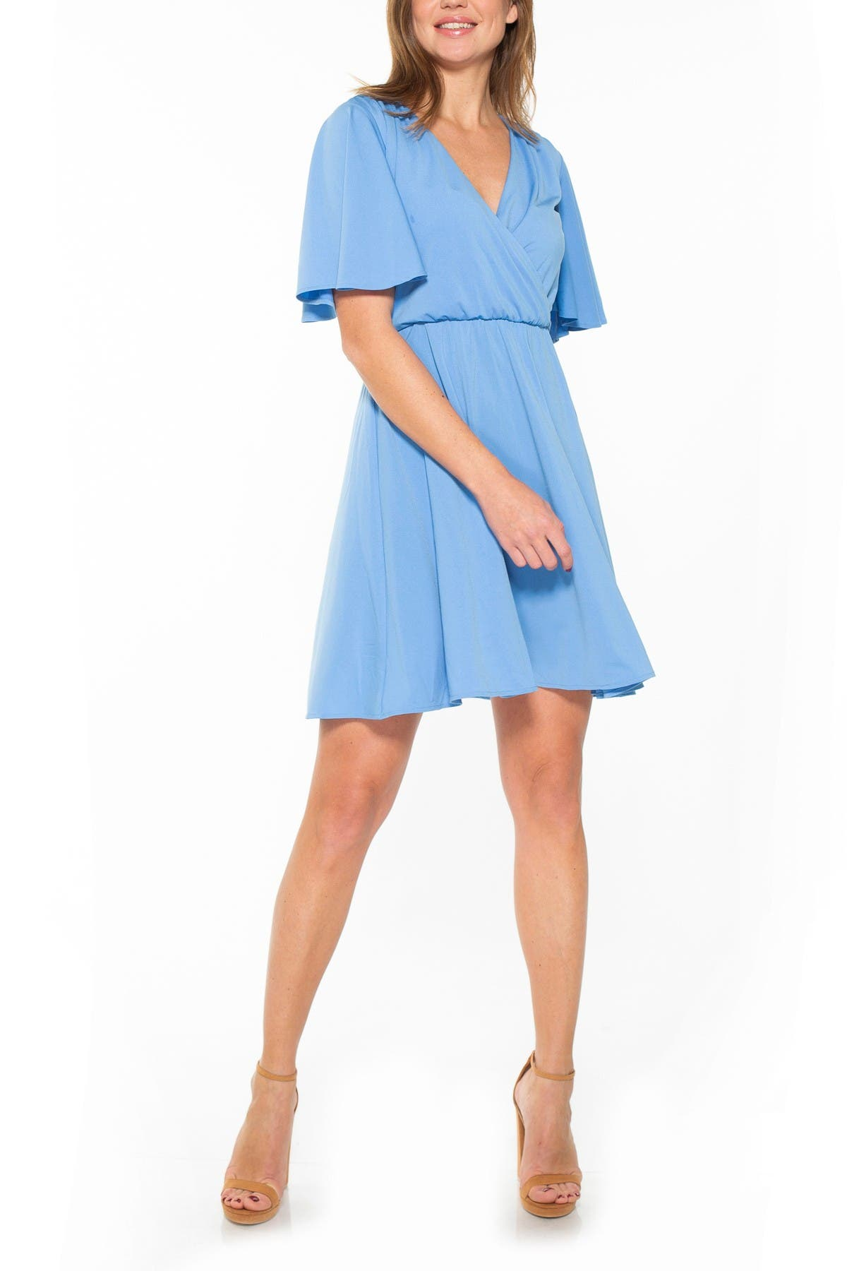 Image of Alexia Admor Oakless Flutter Sleeve Fit & Flare Dress