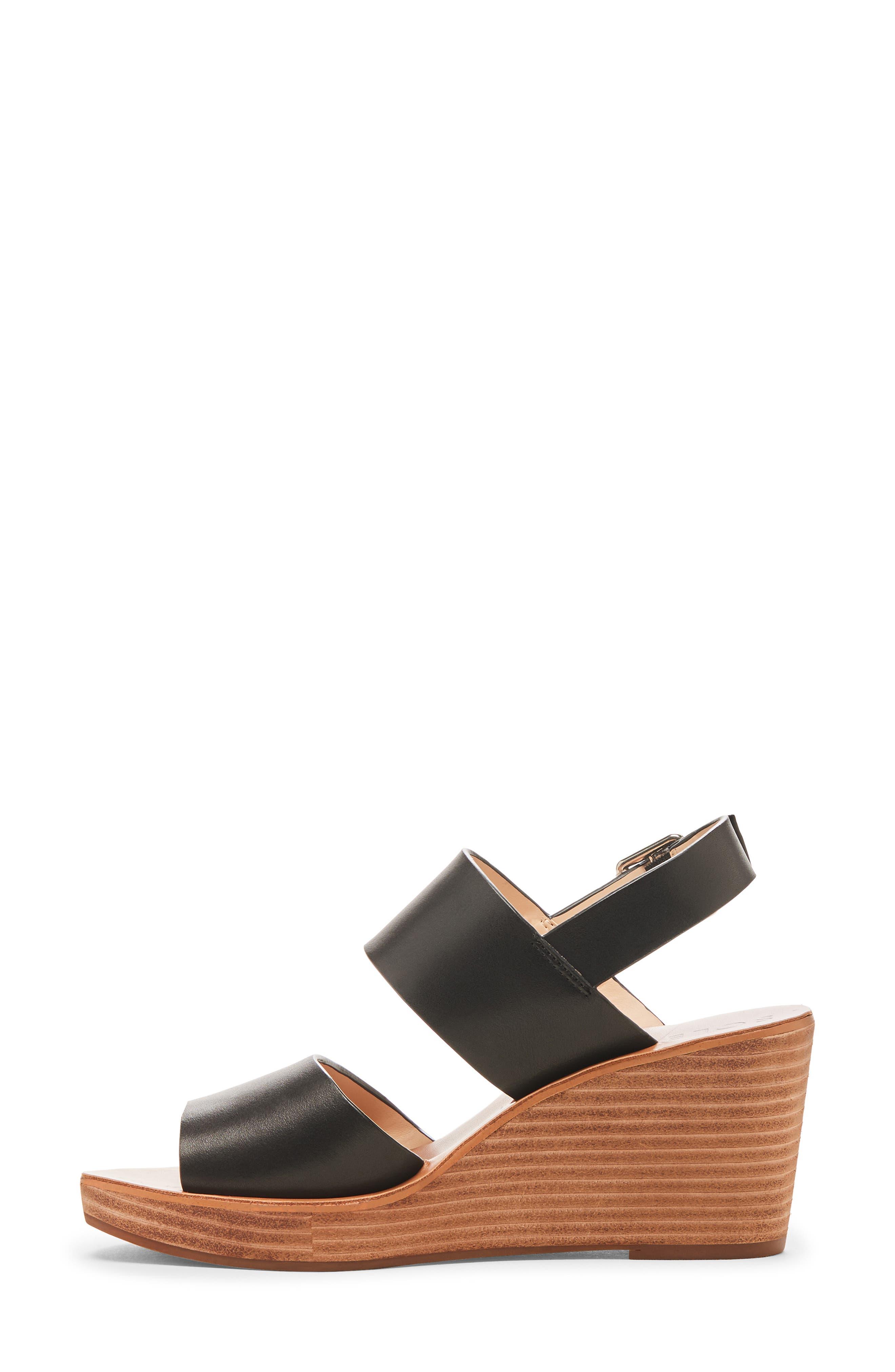 ,                             Pavlina Platform Wedge Sandal,                             Alternate thumbnail 9, color,                             BLACK LEATHER