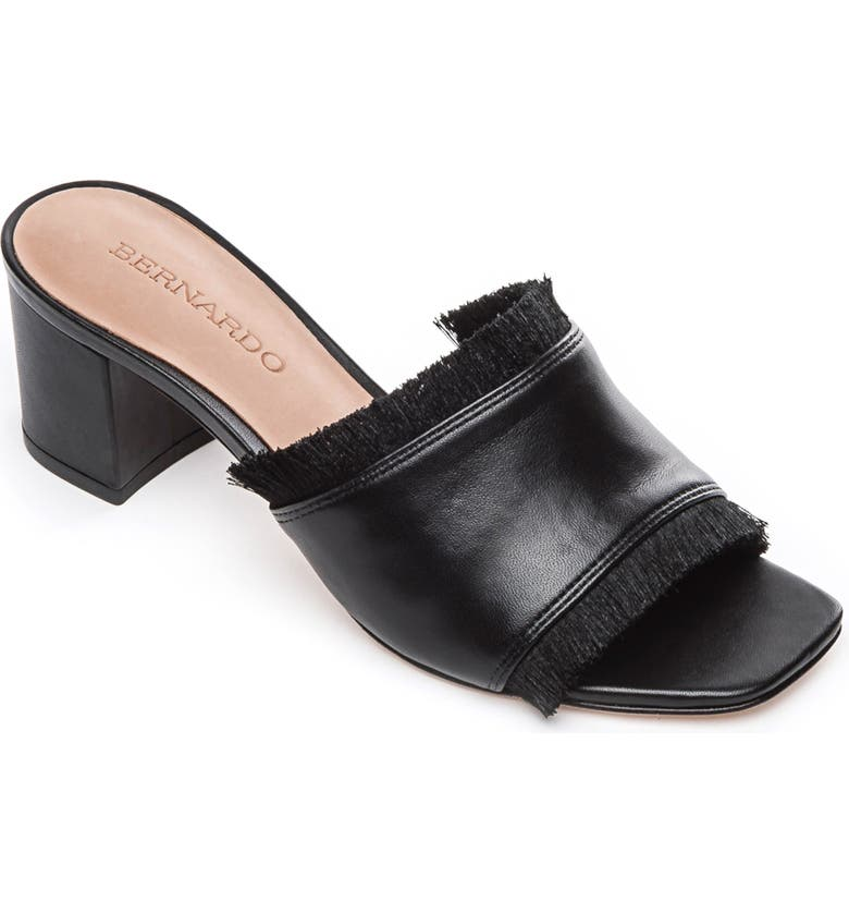 BERNARDO Bryn Slide Sandal, Main, color, BLACK LEATHER
