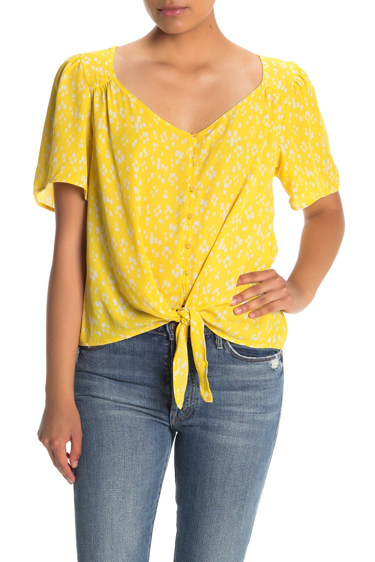 Image of Lush V-Neck Short Sleeve Tie Front Top