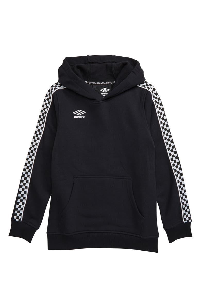 UMBRO Crew Tape Fleece Hoodie, Main, color, BLACK BEAUTY/ WHITE
