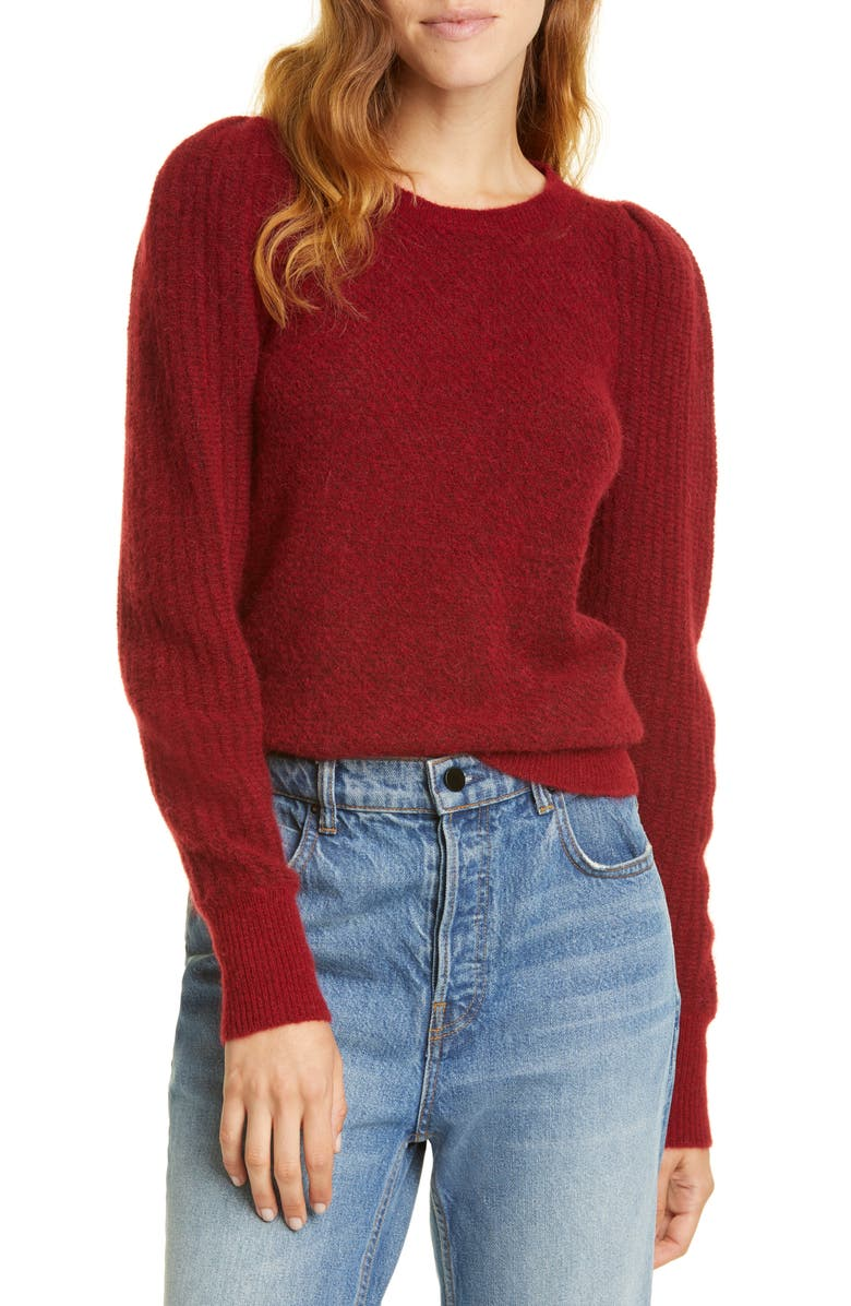 REBECCA TAYLOR Fluffy Alpaca & Wool Blend Sweater, Main, color, RUSSET