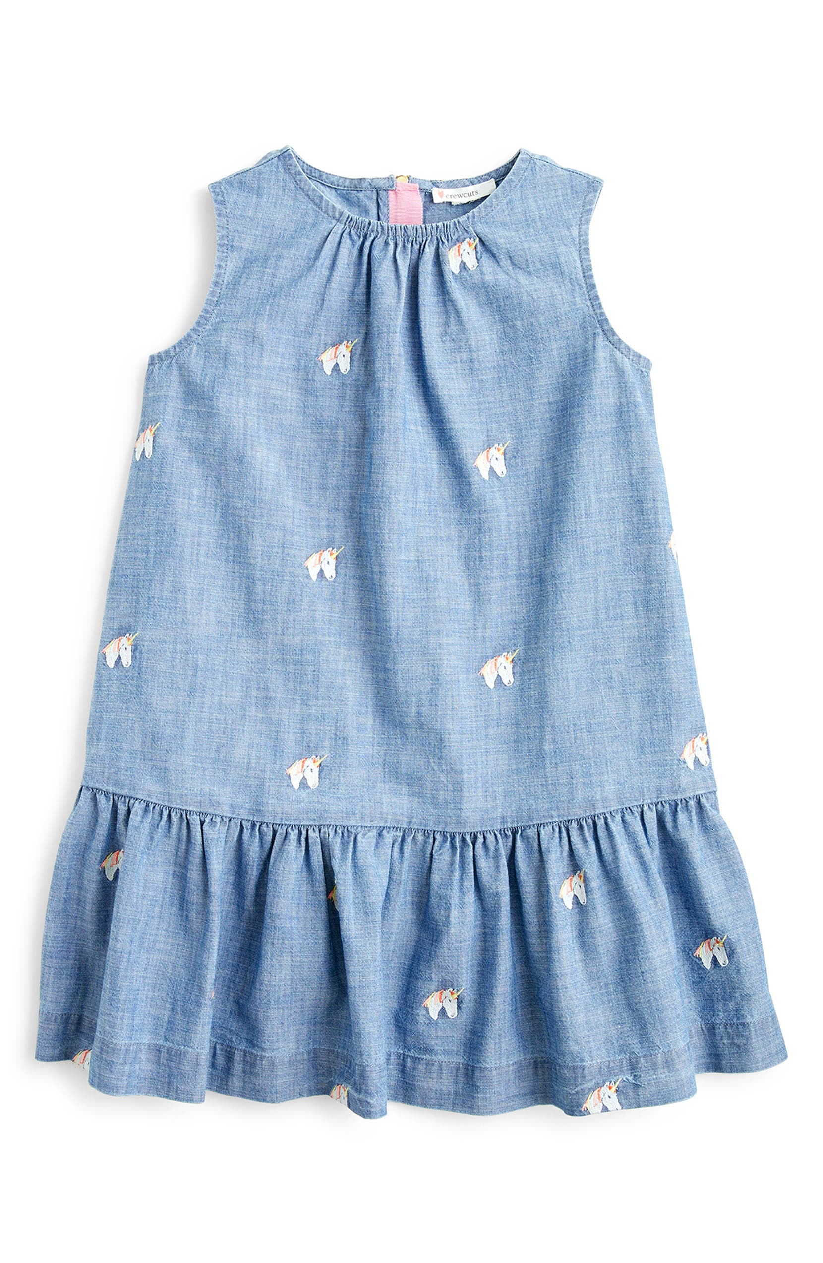 95a72f05d8 crewcuts by J.Crew Embroidered Unicorns Chambray Dress | Nordstrom