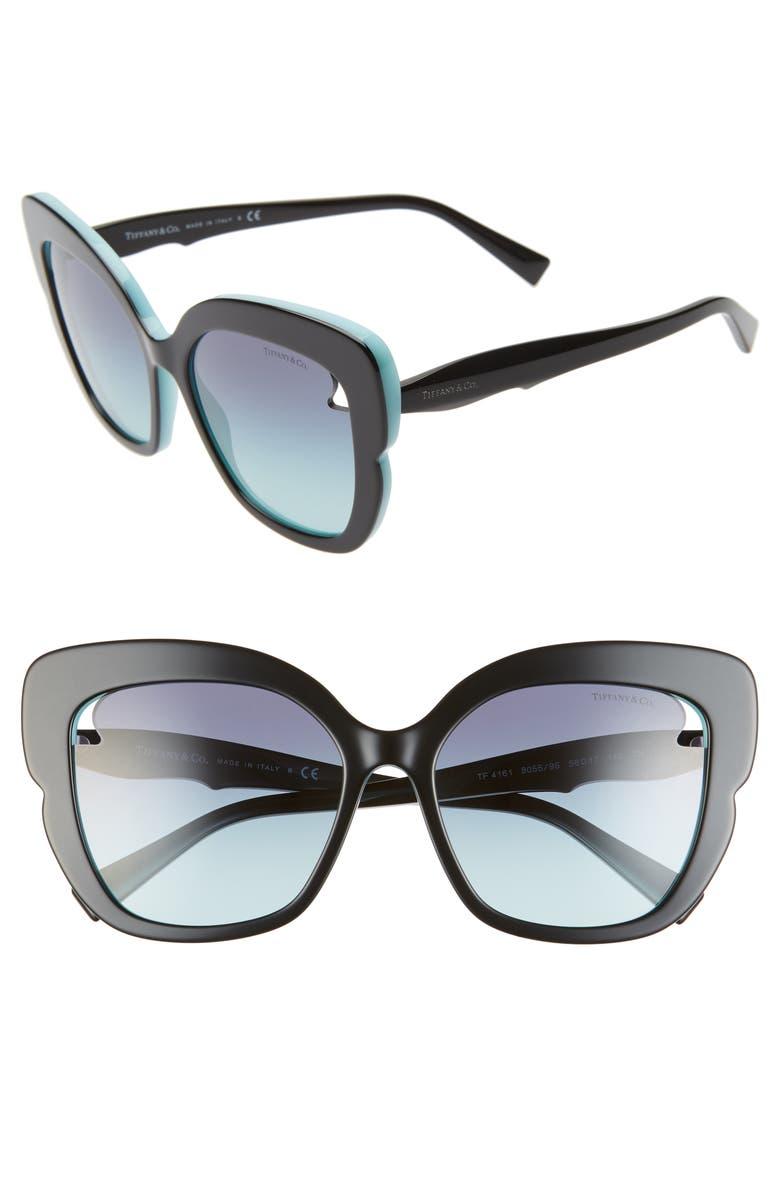 TIFFANY & CO. 56mm Square Cat Eye Sunglasses, Main, color, BLACK/ BLUE GRADIENT
