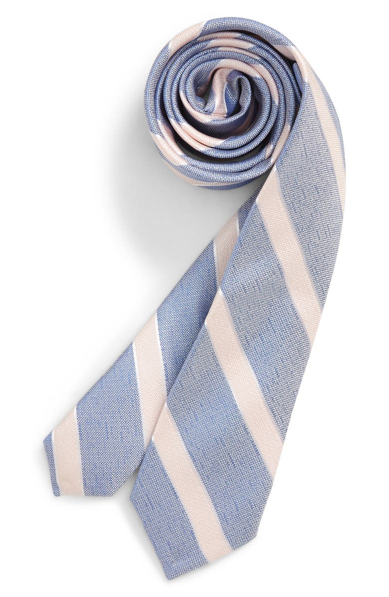 NORDSTROM Anthony Stripe Silk Tie, Main, color, BLUE
