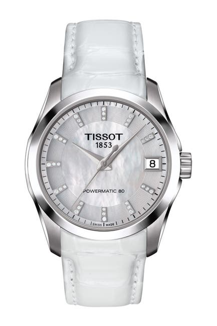 Image of Tissot Women's Couturier Mother of Pearl & Diamond Croc Embossed Leather Strap Watch, 32mm - 0.07 ctw