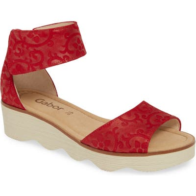 Gabor Wedge Sandal- Red