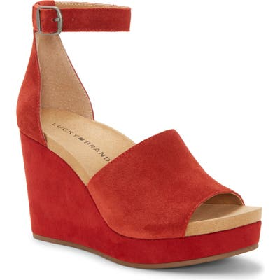Lucky Brand Yemisa Wedge Ankle Strap Sandal, Red