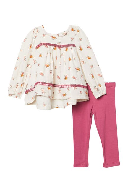 Image of Jessica Simpson Floral Long Sleeve Babydoll Top & Leggings Set