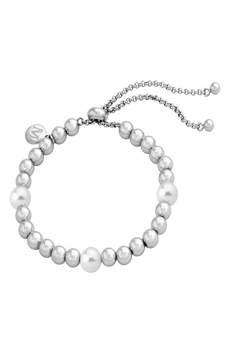 MAJORICA Simulated Pearl & Bead Bracelet, Main, color, WHITE/ STEEL