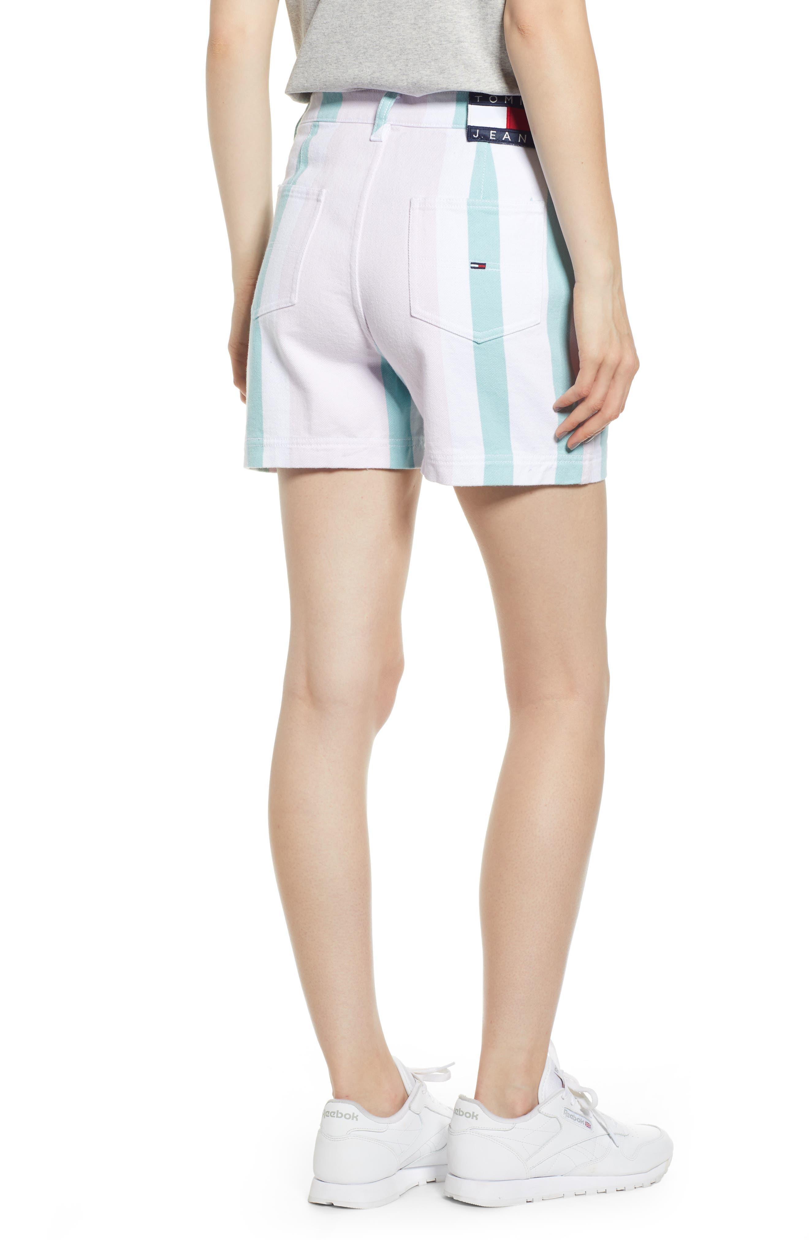 ,                             High Waist Stripe Denim Mom Shorts,                             Alternate thumbnail 2, color,                             BOLD PASTEL STRIPE