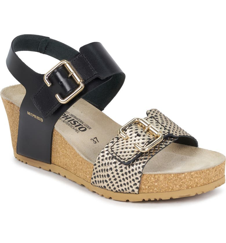 MEPHISTO Lissandra Platform Wedge Sandal, Main, color, BLACK/ GOLD LEATHER