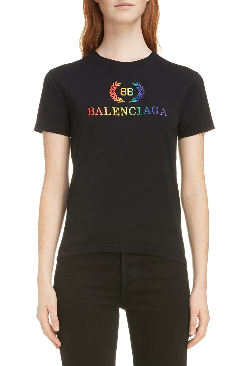 BALENCIAGA Rainbow Wreath Logo Tee, Main, color, 001